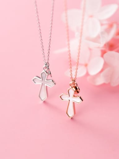 925 Sterling Silver Shell White Cross Minimalist Regligious Necklace