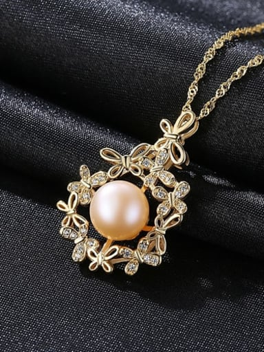 925 Sterling Silver Freshwater Pearl Zircon flower pendant Necklace
