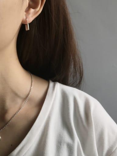925 Sterling Silver Smooth Geometric Minimalist Stud Earring