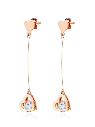 Titanium Rhinestone Heart Minimalist Drop Earring