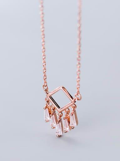 925 Sterling Silver Cubic Zirconia  Minimalist Fashion Geometry   Tassel Necklace