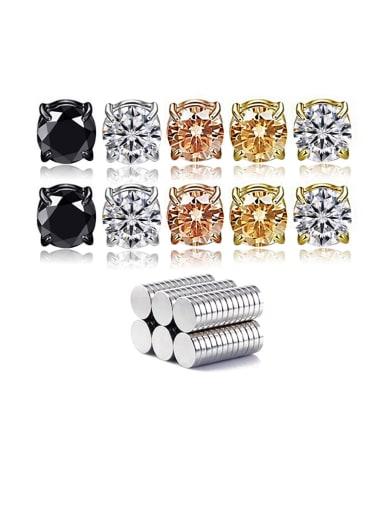 Titanium Rhinestone Multi Color Square Minimalist Stud Earring  No piercings