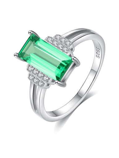 925 Sterling Silver Rhinestone Square Minimalist Band Ring