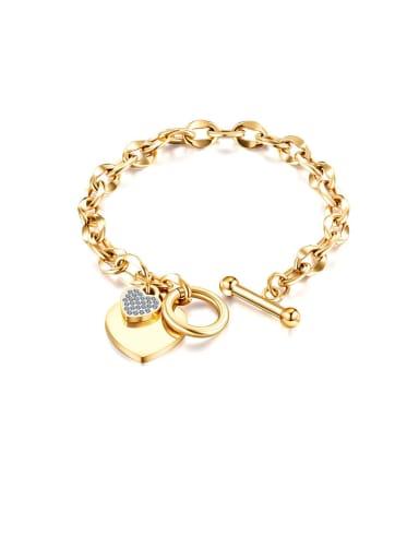 Titanium Rhinestone White Heart Minimalist Link Bracelet