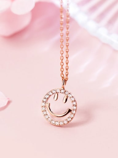 925 Sterling Silver Rhinestone Simple Cute Smiley Pendant Necklace
