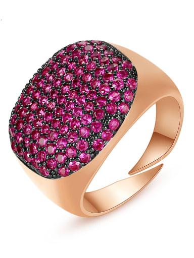 Copper Rhinestone Geometric Minimalist  Free Size Band Ring