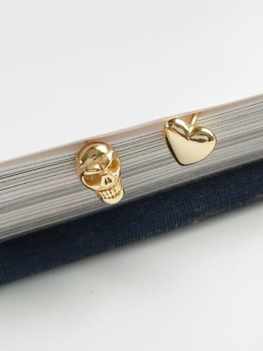925 Sterling Silver asymmetrical cardioid skull cute study Earring
