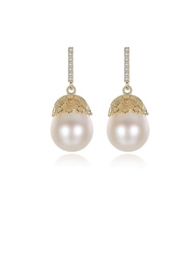 925 Sterling Silver Water Drop  Freshwater Pearl Trend  Lace design Drop Earring