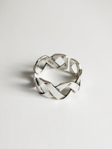 925 Sterling Silver Geometric Artisan Blank Ring