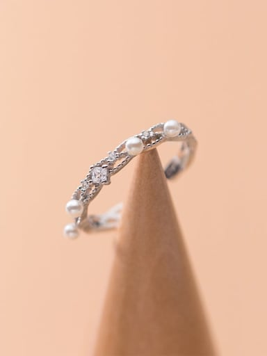 925 Sterling Silver Imitation Pearl Round  Minimalist Band Ring