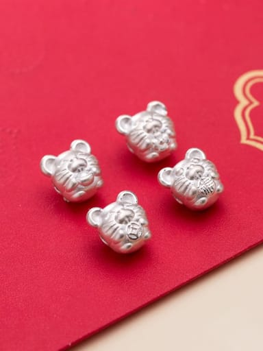 999 Fine Silver With  White Gold Plated Cute Mouse Beads Diy Accessories