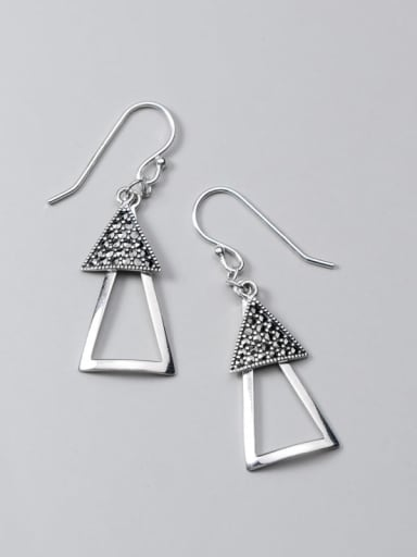 925 Sterling Silver Retro Geometric Triangle  Vintage Drop Earring