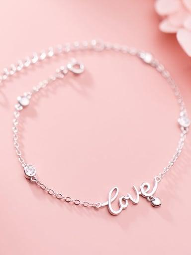 925 Sterling Silver Letter Minimalist Link Bracelet