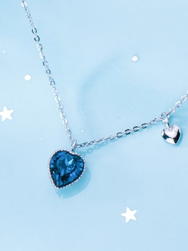925 Sterling Silver Blue Swarovski Crystal Heart-shaped pendant  Necklace