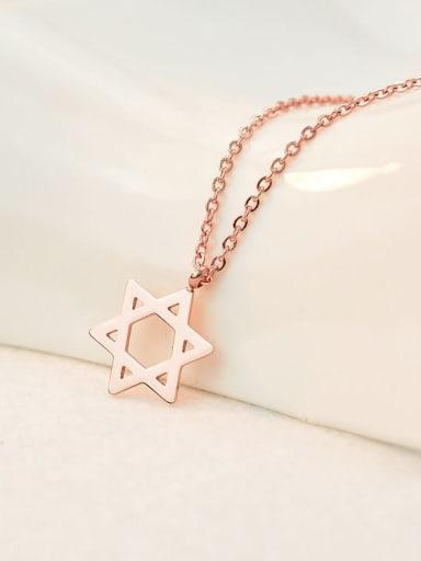 Titanium Hollow Pentagram  Minimalist Choker Necklace