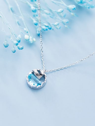 925 Sterling Silver Cubic Zirconia Blue Necklace
