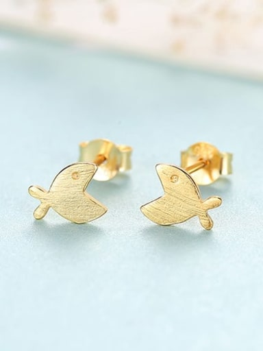18K 16C11 925 Sterling Silver Smooth Fish Minimalist Stud Earring