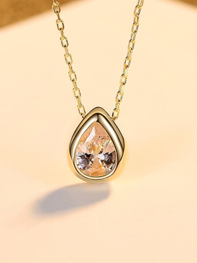 18K gold 14F12 925 Sterling Silver Cubic Zirconia Water Drop Minimalist Necklace