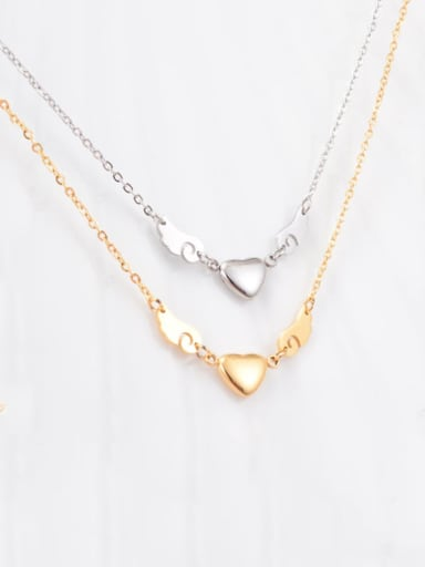 Titanium Smooth Wings Heart  Necklace