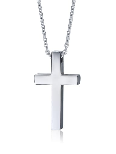 Stainless Steel  Smooth Cross Minimalist Regligious Necklace