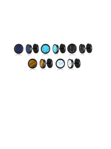 Stainless Steel With Turquoise Tiger Eye Blue Sandstone Dumbbell Men's Stud Earrings