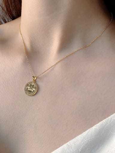 925 Sterling Silver Golden Libra pendant Necklace