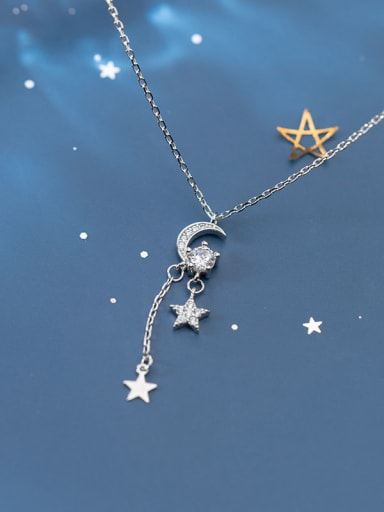 925 Sterling Silver Cubic Zirconia Moon Tassel Minimalist Lariat Necklace
