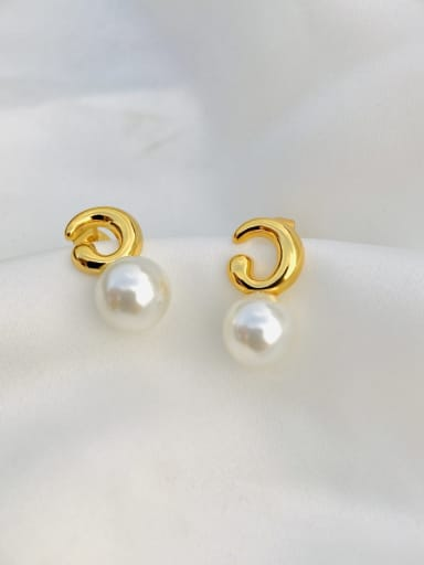 Copper Imitation Pearl White Round Minimalist Stud Earring