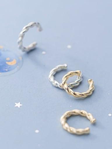 925 Sterling Silver Irregular Twist Minimalist Clip Earring