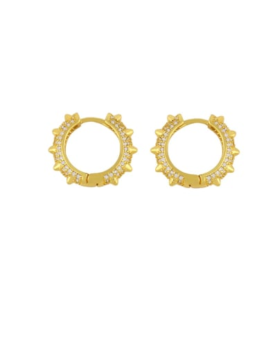 Brass Cubic Zirconia Geometric Vintage Hoop Earring