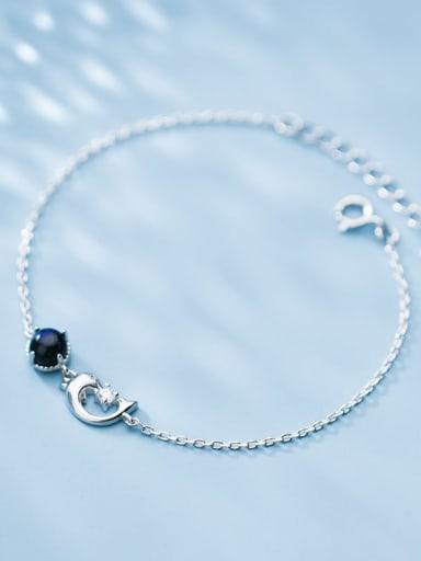 925 Sterling Silver Cubic Zirconia Black Moon Minimalist Link Bracelet