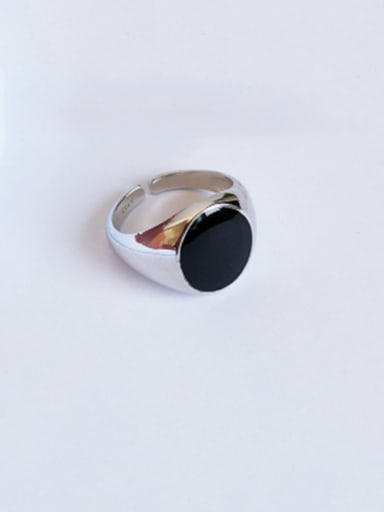 925 Sterling Silver Enamel Minimalist Round Free Size  Ring