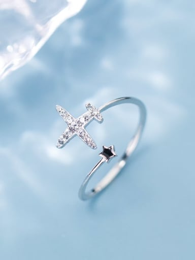 925 Sterling Silver Rhinestone Cross Minimalist Free Size Ring