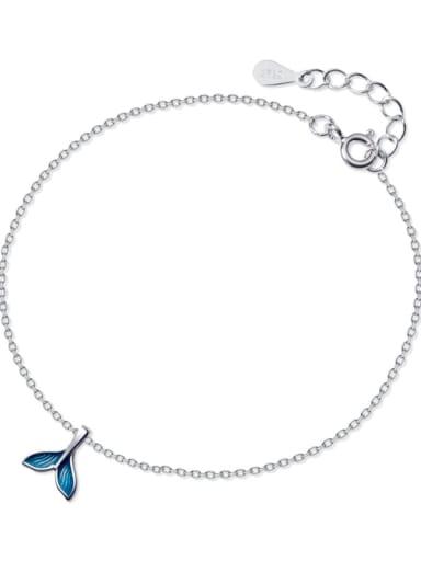 925 Sterling Silver   Minimalist Enamel   Fishtail  Anklet
