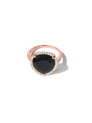 Rose Black Copper Cubic Zirconia Multi Color Water Drop Minimalist Band Ring