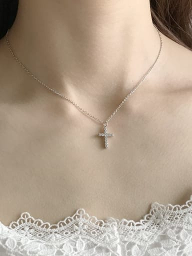 925 Sterling Silver Cubic Zirconia Cross Minimalist Regligious Necklace