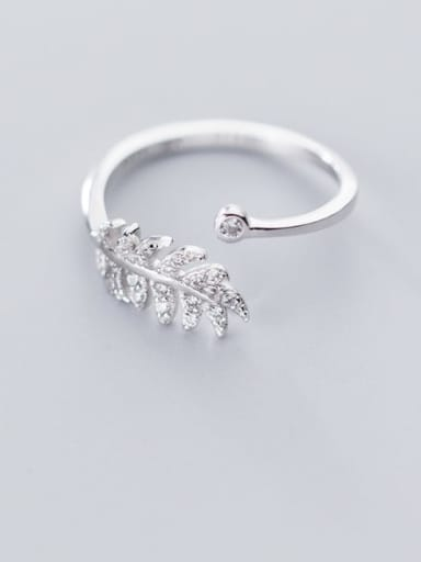 925 sterling silver simple  fashionable leaf  Free size ring
