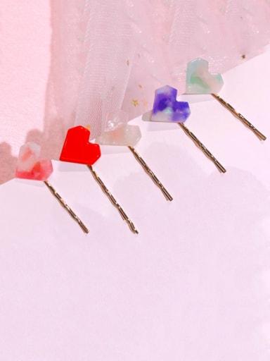 Alloy Cellulose Acetate Minimalist Heart  Hair Pin