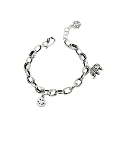Vintage Sterling Silver With Simple Retro Hollow Chain Smiley Bracelets