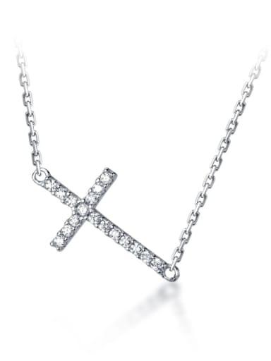 925 Sterling Silver Cubic Zirconia Cross Dainty Regligious Necklace