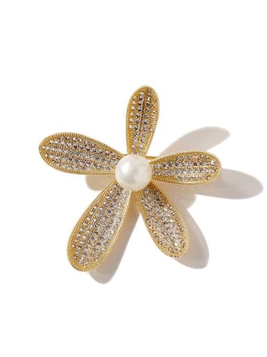 gold Copper Cubic Zirconia White Flower Dainty Brooches