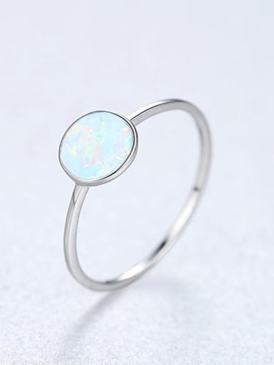 White 22D05 925 Sterling Silver Round Minimalist Band Ring