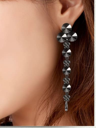 Fashion Metal Rhinestone Black Water Drop Vintage Chandelier Earring