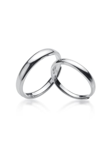 925 Sterling Silver Minimalist Smooth Round  Lovers Ring