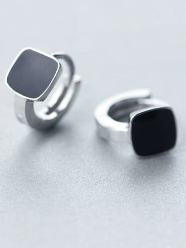 925 Sterling Silver Black Enamel Square Minimalist Huggie Earring