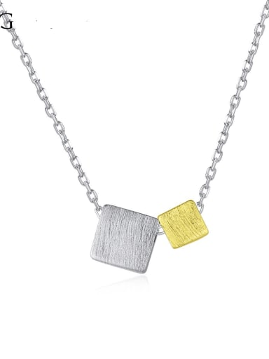 925 sterling silver simple Square Pendant Necklace