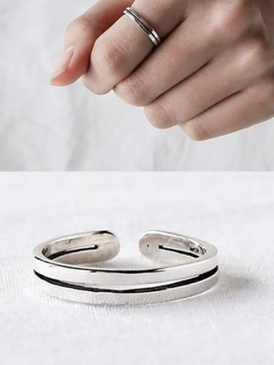 J34 925 Sterling Silver Geometric flower Vintage Stackable Ring