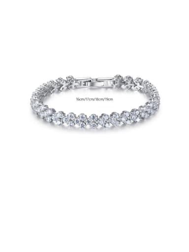 925 Sterling Silver Cubic Zirconia Round Dainty Bracelet