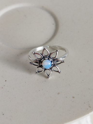 J 840 rings 925 Sterling Silver Glass Bead Blue Heart Vintage Midi Ring