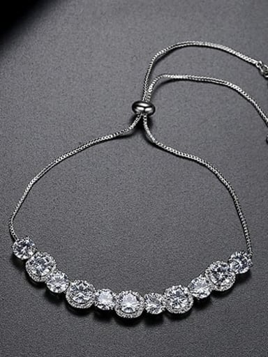 Platinum t14e19 Copper Cubic Zirconia Round Vintage Adjustable Bracelet